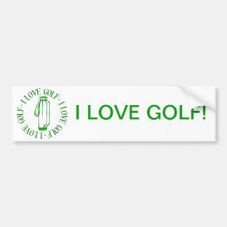 I love golf! bumper stickers