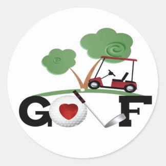 I Love Golf Classic Round Sticker