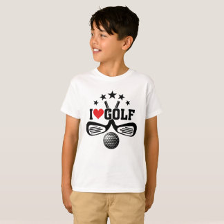 I Love Golf, Crossed Golf Clubs and  Golf Ball T-Shirt