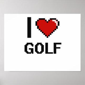 I Love Golf Digital Retro Design Poster