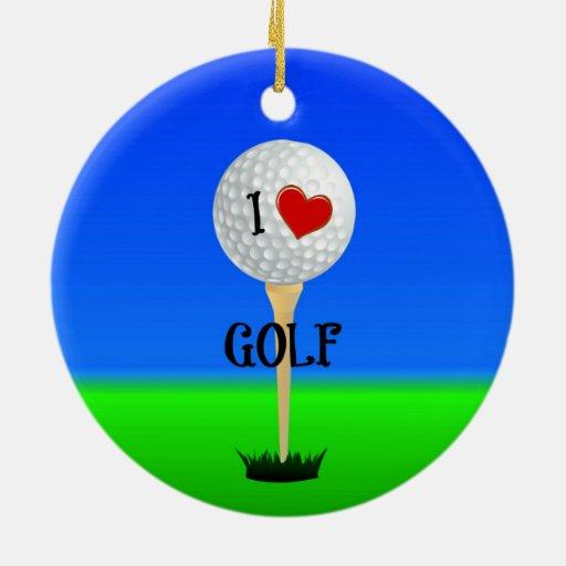 I Love Golf Golf Ball On Tee Ceramic Ornament Zazzle