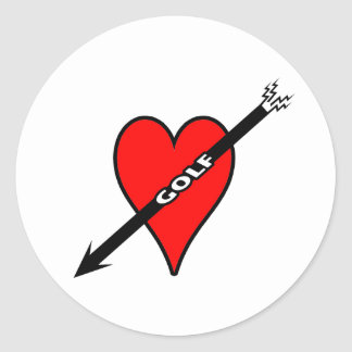 I Love Golf Heart Classic Round Sticker