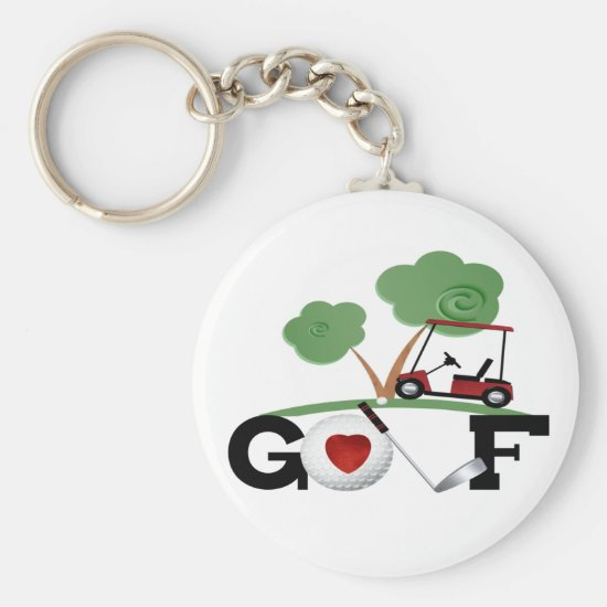 I Love Golf Keychain