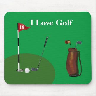 """I Love Golf"" Mousepad w/Golf Club, Ball & Bag"