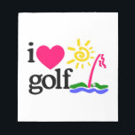 """I LOVE GOlF Notepad<br><div class=""""desc"""">Shake the rust off your swing and start the season off right. This design offers endless possibilities for gifting ideas that are at the top of every golf lovers&#39; wish list!</div>"""