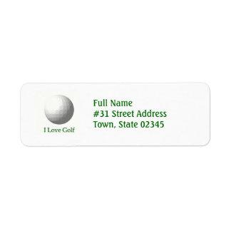 I Love Golf Return Address Label