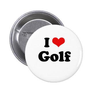 I Love Golf Tshirt Button