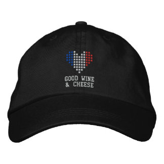 I Love Good Wine & Cheese Hat Embroidered Hats
