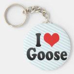 I Love Goose Basic Round Button Keychain