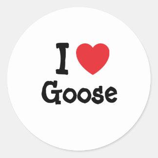 I love Goose heart T-Shirt Classic Round Sticker