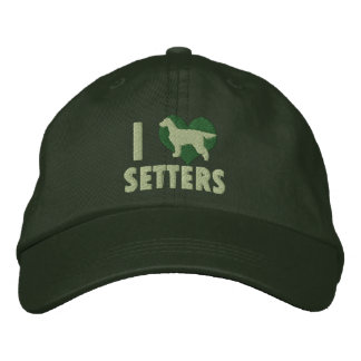 I Love Gordon Setters Embroidered Hat (Green)