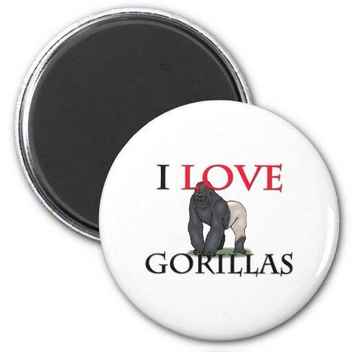 I Love Gorillas 2 Inch Round Magnet
