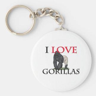 I Love Gorillas Basic Round Button Keychain