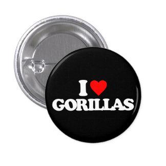 I LOVE GORILLAS PINBACK BUTTONS