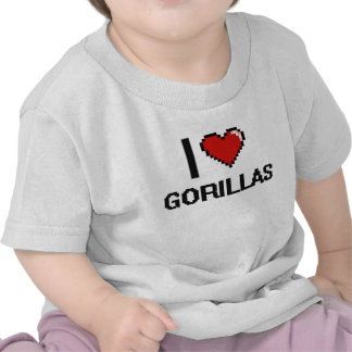 I love Gorillas Digital Design Tshirts