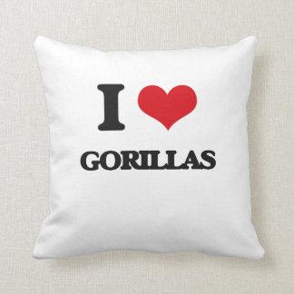 I love Gorillas Throw Pillows
