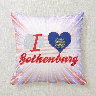 I Love Gothenburg, Nebraska Throw Pillows