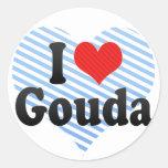 I Love Gouda Round Stickers
