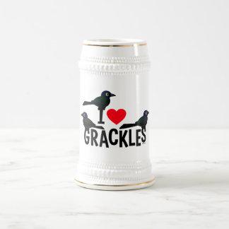 I Love Grackles Beer Stein