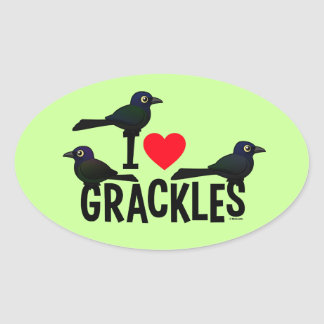 I Love Grackles Oval Sticker