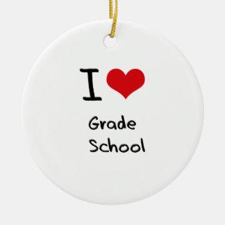 I Love Grade   School Double-Sided Ceramic Round Christmas Ornament
