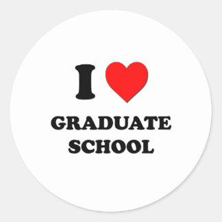 I Love Graduate School Classic Round Sticker