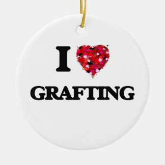 I Love Grafting Double-Sided Ceramic Round Christmas Ornament
