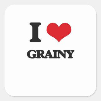 I love Grainy Square Stickers