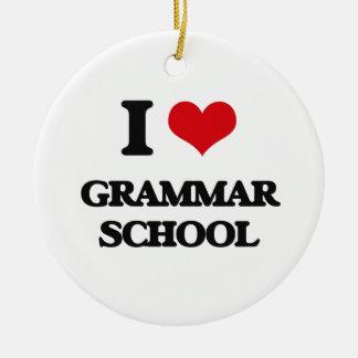 I love Grammar School Double-Sided Ceramic Round Christmas Ornament