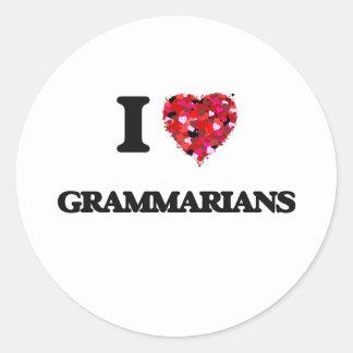 I love Grammarians Classic Round Sticker