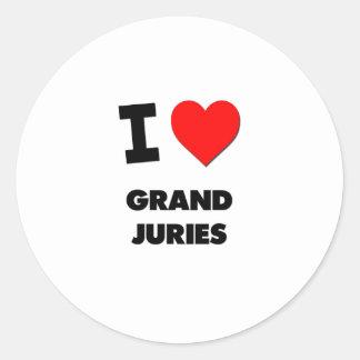 I Love Grand Juries Round Stickers