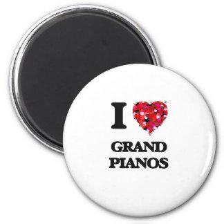 I love Grand Pianos 2 Inch Round Magnet