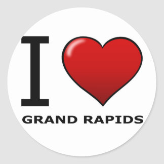 I LOVE GRAND RAPIDS,MI - MICHIGAN CLASSIC ROUND STICKER