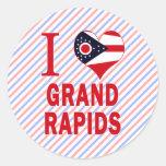 I love Grand Rapids, Ohio Round Stickers