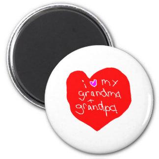 I Love Grandma and Grandpa 2 Inch Round Magnet