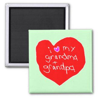 I Love Grandma and Grandpa 2 Inch Square Magnet