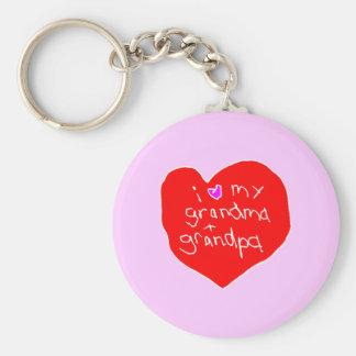 I Love Grandma and Grandpa Basic Round Button Keychain