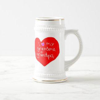 I Love Grandma and Grandpa Beer Stein