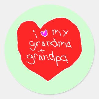 I Love Grandma and Grandpa Classic Round Sticker