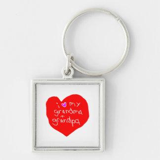 I Love Grandma and Grandpa Silver-Colored Square Keychain