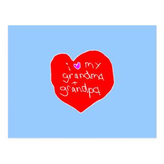 I Love Grandma and Grandpa Postcard