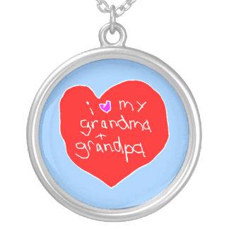 I Love Grandma and Grandpa Round Pendant Necklace