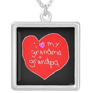 I Love Grandma and Grandpa Square Pendant Necklace