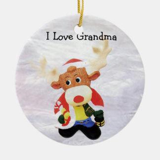 I Love Grandma in Stained Glass Ceramic Ornament