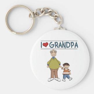 I Love Grandpa Brown Haired Boy Basic Round Button Keychain