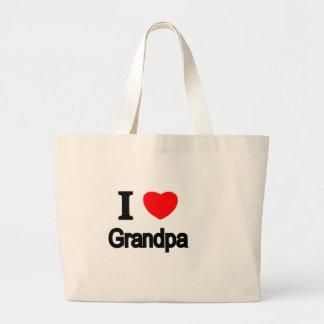 I Love Grandpa Large Tote Bag