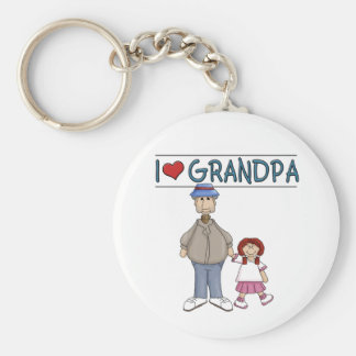 I Love Grandpa Red Haired Girl Basic Round Button Keychain