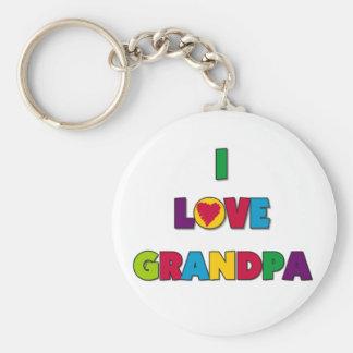 I Love Grandpa T-shirts and Gifts Basic Round Button Keychain