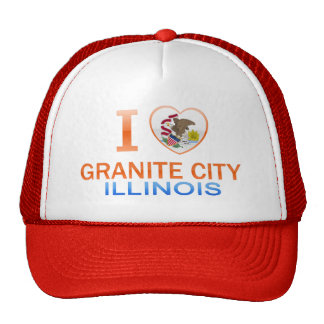I Love Granite City, IL Mesh Hats