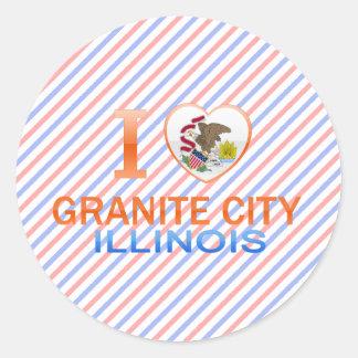 I Love Granite City, IL Round Sticker